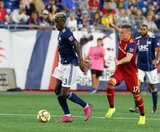 Wilfried Zahibo (23), Corey Baird (17) during New England Revolution and Real Salt Lake MLS match at Gillette Stadium in Foxboro, MA on Saturday, September 21, 2019. The match ended 0-0 tie. CREDIT/CHRIS ADUAMA.