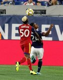 Sam Johnson (50), DeJuan Jones (24) during New England Revolution and Real Salt Lake MLS match at Gillette Stadium in Foxboro, MA on Saturday, September 21, 2019. The match ended 0-0 tie. CREDIT/CHRIS ADUAMA.