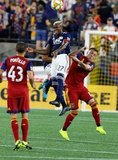 Luis Caicedo (27), Corey Baird (17) during New England Revolution and Real Salt Lake MLS match at Gillette Stadium in Foxboro, MA on Saturday, September 21, 2019. The match ended 0-0 tie. CREDIT/CHRIS ADUAMA.