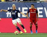 Antonio Delamea (19), Sebastian Saucedo (23) during New England Revolution and Real Salt Lake MLS match at Gillette Stadium in Foxboro, MA on Saturday, September 21, 2019. The match ended 0-0 tie. CREDIT/CHRIS ADUAMA.
