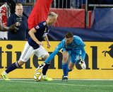 Antonio Delamea (19), Matt Turner (30) during New England Revolution and Real Salt Lake MLS match at Gillette Stadium in Foxboro, MA on Saturday, September 21, 2019. The match ended 0-0 tie. CREDIT/CHRIS ADUAMA.
