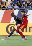 Wilfried Zahibo (23), Aaron Herrera (22) during New England Revolution and Real Salt Lake MLS match at Gillette Stadium in Foxboro, MA on Saturday, September 21, 2019. The match ended 0-0 tie. CREDIT/CHRIS ADUAMA.