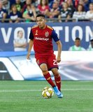 Sebastian Saucedo (23) during New England Revolution and Real Salt Lake MLS match at Gillette Stadium in Foxboro, MA on Saturday, September 21, 2019. The match ended 0-0 tie. CREDIT/CHRIS ADUAMA.