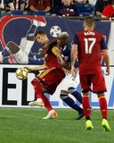 Damir Kreilach (8), Luis Caicedo (27) during New England Revolution and Real Salt Lake MLS match at Gillette Stadium in Foxboro, MA on Saturday, September 21, 2019. The match ended 0-0 tie. CREDIT/CHRIS ADUAMA.