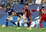 Antonio Delamea (19), Damir Kreilach (8) during New England Revolution and Real Salt Lake MLS match at Gillette Stadium in Foxboro, MA on Saturday, September 21, 2019. The match ended 0-0 tie. CREDIT/CHRIS ADUAMA.