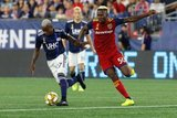 Luis Caicedo (27), Sam Johnson (50) during New England Revolution and Real Salt Lake MLS match at Gillette Stadium in Foxboro, MA on Saturday, September 21, 2019. The match ended 0-0 tie. CREDIT/CHRIS ADUAMA.