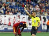 Sam Johnson (50), Ref. Armando Villarreal during New England Revolution and Real Salt Lake MLS match at Gillette Stadium in Foxboro, MA on Saturday, September 21, 2019. The match ended 0-0 tie. CREDIT/CHRIS ADUAMA.