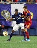 Cristian Penilla (70), Aaron Herrera (22) during New England Revolution and Real Salt Lake MLS match at Gillette Stadium in Foxboro, MA on Saturday, September 21, 2019. The match ended 0-0 tie. CREDIT/CHRIS ADUAMA.