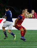 Gustavo Bou (7), Erik Holt (20) during New England Revolution and Real Salt Lake MLS match at Gillette Stadium in Foxboro, MA on Saturday, September 21, 2019. The match ended 0-0 tie. CREDIT/CHRIS ADUAMA.