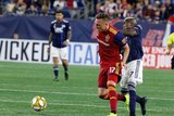 Corey Baird (17), Luis Caicedo (27) during New England Revolution and Real Salt Lake MLS match at Gillette Stadium in Foxboro, MA on Saturday, September 21, 2019. The match ended 0-0 tie. CREDIT/CHRIS ADUAMA.