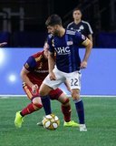 Carles Gil (22), Corey Baird (17) during New England Revolution and Real Salt Lake MLS match at Gillette Stadium in Foxboro, MA on Saturday, September 21, 2019. The match ended 0-0 tie. CREDIT/CHRIS ADUAMA.