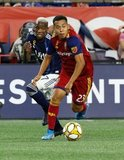 Luis Caicedo (27), Sebastian Saucedo (23) during New England Revolution and Real Salt Lake MLS match at Gillette Stadium in Foxboro, MA on Saturday, September 21, 2019. The match ended 0-0 tie. CREDIT/CHRIS ADUAMA.