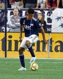 Juan Agudelo (17) during New England Revolution and Real Salt Lake MLS match at Gillette Stadium in Foxboro, MA on Saturday, September 21, 2019. The match ended 0-0 tie. CREDIT/CHRIS ADUAMA.