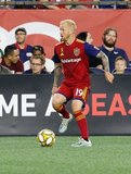 Luke  Mulholland (19) during New England Revolution and Real Salt Lake MLS match at Gillette Stadium in Foxboro, MA on Saturday, September 21, 2019. The match ended 0-0 tie. CREDIT/CHRIS ADUAMA.