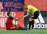 Sebastian Saucedo (23), Ref. Armando Villarreal during New England Revolution and Real Salt Lake MLS match at Gillette Stadium in Foxboro, MA on Saturday, September 21, 2019. The match ended 0-0 tie. CREDIT/CHRIS ADUAMA.
