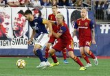 Carles Gil (22), Kelyn Rowe (6) during New England Revolution and Real Salt Lake MLS match at Gillette Stadium in Foxboro, MA on Saturday, September 21, 2019. The match ended 0-0 tie. CREDIT/CHRIS ADUAMA.