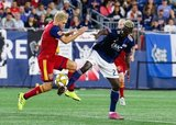 Kelyn Rowe (6), Wilfried Zahibo (23) during New England Revolution and Real Salt Lake MLS match at Gillette Stadium in Foxboro, MA on Saturday, September 21, 2019. The match ended 0-0 tie. CREDIT/CHRIS ADUAMA.