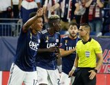 Wilfried Zahibo (23), Ref. Armando Villarreal during New England Revolution and Real Salt Lake MLS match at Gillette Stadium in Foxboro, MA on Saturday, September 21, 2019. The match ended 0-0 tie. CREDIT/CHRIS ADUAMA.