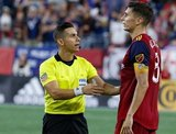 Damir Kreilach (8), Ref. Armando Villarreal during New England Revolution and Real Salt Lake MLS match at Gillette Stadium in Foxboro, MA on Saturday, September 21, 2019. The match ended 0-0 tie. CREDIT/CHRIS ADUAMA.