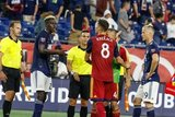 Wilfried Zahibo (23), Damir Kreilach (8) during New England Revolution and Real Salt Lake MLS match at Gillette Stadium in Foxboro, MA on Saturday, September 21, 2019. The match ended 0-0 tie. CREDIT/CHRIS ADUAMA.
