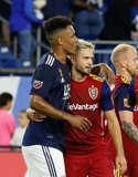 Juan Agudelo (17), Kelyn Rowe (6) during New England Revolution and Real Salt Lake MLS match at Gillette Stadium in Foxboro, MA on Saturday, September 21, 2019. The match ended 0-0 tie. CREDIT/CHRIS ADUAMA.