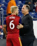 Kelyn Rowe (6), Head Coach Bruce Arena during New England Revolution and Real Salt Lake MLS match at Gillette Stadium in Foxboro, MA on Saturday, September 21, 2019. The match ended 0-0 tie. CREDIT/CHRIS ADUAMA.