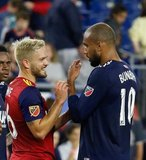 Kelyn Rowe (6), Teal Bunbury (10) during New England Revolution and Real Salt Lake MLS match at Gillette Stadium in Foxboro, MA on Saturday, September 21, 2019. The match ended 0-0 tie. CREDIT/CHRIS ADUAMA.
