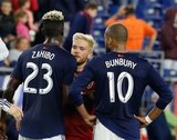 Wilfried Zahibo (23), Kelyn Rowe (6), Teal Bunbury (10) during New England Revolution and Real Salt Lake MLS match at Gillette Stadium in Foxboro, MA on Saturday, September 21, 2019. The match ended 0-0 tie. CREDIT/CHRIS ADUAMA.