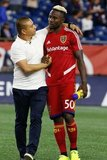 Head Coach Freddy Juarez, Sam Johnson (50)  during New England Revolution and Real Salt Lake MLS match at Gillette Stadium in Foxboro, MA on Saturday, September 21, 2019. The match ended 0-0 tie. CREDIT/CHRIS ADUAMA.