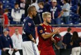 Teal Bunbury (10), Kelyn Rowe (6) during New England Revolution and Real Salt Lake MLS match at Gillette Stadium in Foxboro, MA on Saturday, September 21, 2019. The match ended 0-0 tie. CREDIT/CHRIS ADUAMA.