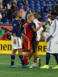 Teal Bunbury (10), Kelyn Rowe (6), Jalil Anibaba (3) during New England Revolution and Real Salt Lake MLS match at Gillette Stadium in Foxboro, MA on Saturday, September 21, 2019. The match ended 0-0 tie. CREDIT/CHRIS ADUAMA.