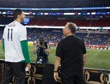 Enes Kanter -Boston Celtics, Coach Bruce Arena during New England Revolution and Real Salt Lake MLS match at Gillette Stadium in Foxboro, MA on Saturday, September 21, 2019. The match ended 0-0 tie. CREDIT/CHRIS ADUAMA.
