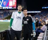 Enes Kanter -Boston Celtics, Matt Turner (30) during New England Revolution and Real Salt Lake MLS match at Gillette Stadium in Foxboro, MA on Saturday, September 21, 2019. The match ended 0-0 tie. CREDIT/CHRIS ADUAMA.