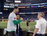 Charlie Davies, Enes Kanter -Boston Celtics, Cathal Conlon during New England Revolution and Real Salt Lake MLS match at Gillette Stadium in Foxboro, MA on Saturday, September 21, 2019. The match ended 0-0 tie. CREDIT/CHRIS ADUAMA.
