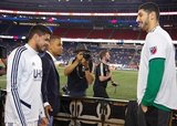 Gustavo Bou (7), Charlie Davies, Enes Kanter -Boston Celtics during New England Revolution and Real Salt Lake MLS match at Gillette Stadium in Foxboro, MA on Saturday, September 21, 2019. The match ended 0-0 tie. CREDIT/CHRIS ADUAMA.
