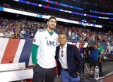 Charlie Davies, Enes Kanter -Boston Celtics during New England Revolution and Real Salt Lake MLS match at Gillette Stadium in Foxboro, MA on Saturday, September 21, 2019. The match ended 0-0 tie. CREDIT/CHRIS ADUAMA.