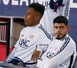 Juan Agudelo (17), Gustavo Bou (7) during New England Revolution and Real Salt Lake MLS match at Gillette Stadium in Foxboro, MA on Saturday, September 21, 2019. The match ended 0-0 tie. CREDIT/CHRIS ADUAMA.