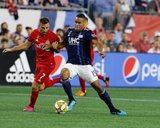 Nicolas Benezet (7), Brandon Bye (15) during New England Revolution and Toronto FC MLS match at Gillette Stadium in Foxboro, MA on Saturday, August 31, 2019. The match ended in 1-1 tie. CREDIT/ CHRIS ADUAMA