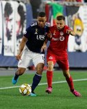 Brandon Bye (15), Nicolas Benezet (7), during New England Revolution and Toronto FC MLS match at Gillette Stadium in Foxboro, MA on Saturday, August 31, 2019. The match ended in 1-1 tie. CREDIT/ CHRIS ADUAMA