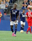 Wilfried Zahibo (23) during New England Revolution and Toronto FC MLS match at Gillette Stadium in Foxboro, MA on Saturday, August 31, 2019. The match ended in 1-1 tie. CREDIT/ CHRIS ADUAMA