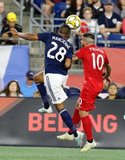 Michael Mancienne (28), Alejandro Pozuelo (10) during New England Revolution and Toronto FC MLS match at Gillette Stadium in Foxboro, MA on Saturday, August 31, 2019. The match ended in 1-1 tie. CREDIT/ CHRIS ADUAMA