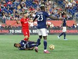 Alejandro Pozuelo (10), Luis Caicedo (27) during New England Revolution and Toronto FC MLS match at Gillette Stadium in Foxboro, MA on Saturday, August 31, 2019. The match ended in 1-1 tie. CREDIT/ CHRIS ADUAMA
