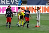 during New England Revolution and Philadelphia Union MLS match on Thursday, August 20, 2020 at Gillette Stadium in Foxboro, MA. The match ended in 0-0 tie. CREDIT/ CHRIS ADUAMA.