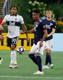 Juan Agudelo (17) during New England Revolution and Vancouver Whitecaps FC MLS match at Gillette Stadium in Foxboro, MA on Wednesday, July 17, 2019.  Revs won 4-0. CREDIT/CHRIS ADUAMA