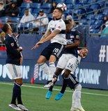 Jakob Nerwinski (28), DeJuan Jones (24) during New England Revolution and Vancouver Whitecaps FC MLS match at Gillette Stadium in Foxboro, MA on Wednesday, July 17, 2019.  Revs won 4-0. CREDIT/CHRIS ADUAMA