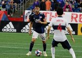 Carles Gil (22) during New England Revolution and Vancouver Whitecaps FC MLS match at Gillette Stadium in Foxboro, MA on Wednesday, July 17, 2019.  Revs won 4-0. CREDIT/CHRIS ADUAMA