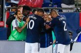 Diego Fagundez (14) goal celebration during New England Revolution and Vancouver Whitecaps FC MLS match at Gillette Stadium in Foxboro, MA on Wednesday, July 17, 2019.  Revs won 4-0. CREDIT/CHRIS ADUAMA