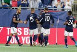 Carles Gil (22) goal celebration during New England Revolution and Vancouver Whitecaps FC MLS match at Gillette Stadium in Foxboro, MA on Wednesday, July 17, 2019.  Revs won 4-0. CREDIT/CHRIS ADUAMA